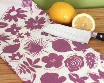 Flower kitchen towel, botanical dish towel, hostess gift idea, purple tea towel, Kitchen Towel - floral gift idea, 50 State Trees & Flowers