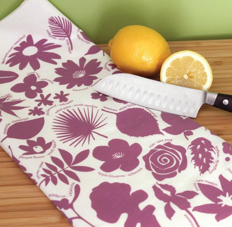 Flower kitchen towel botanical dish towel hostess gift idea image 0