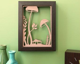Mushroom Forest Floor - 5x7 Wood Print , woodland themed art illustration