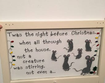 Twas the night before Christmas vinyl decal with lights and holly DIY