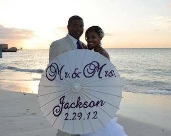 Mr and Mrs Name and date hand painted parasol for wedding