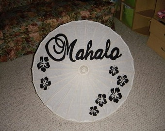 Mahalo or Gracias handpainted parasol for wedding pictures with hibiscus flowers