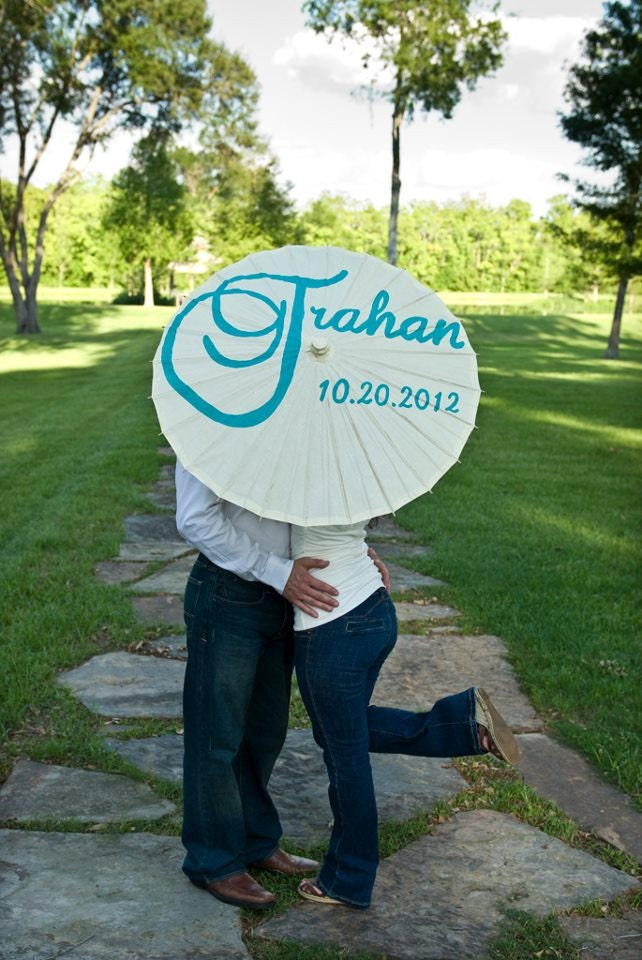 Last name and wedding date parasol for wedding pictures