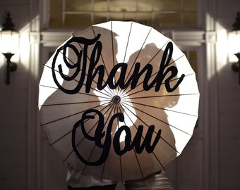 Large Brockscript Thank you handpainted parasol