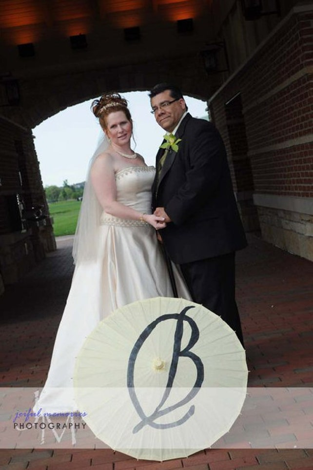 Wedding Parasol with large Initial