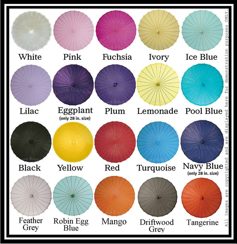Plain colored Parasol to use for Bridesmaid to carry or DIY image 0