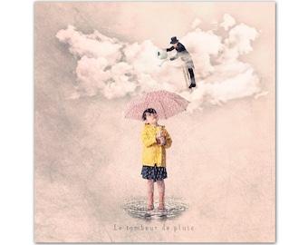 canvas print, Canvas Gallery Wrap, Wall Art Canvas, Autumn photo, illustration of rain and umbrella, Tiny trades, the rain pourer