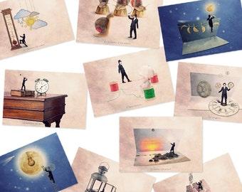 funny art print, Art postcards, Postcard set, Tiny trades, Funny prints, Sets of postcards, French Postcard set, Funny postcards, Postcards