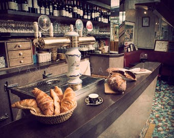 Paris photography, Paris cafe, Paris cafe art, Breakfast, Breakfast print, French bistro, Parisian decor, kitchen decor, French croissant