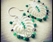 Monstera-Wire Wrapped, Hand forged, Emerald Jade, Black Spinel, Green Agate, Green Onyx, and Mother of Pearl, Sterling Silver, Leaf Earrings