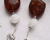 Roman Holiday - Baltic Amber, Mother of Pearl and Art Clay Silver Earrings