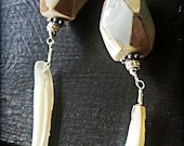 Mother of Diamonds - Mother of Pearl, Sterling Silver, Wire Wrapped, Dangle Earrings