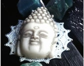 Serenity - Amazonite, Glass Pearl, Suede, Buddha, Rough Nugget, Filigree, Patina, Wire Wrapped, Silver Filled Necklace