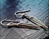 Apache - Silver Plated Feather, Charm, Silver Filled French Hook Wire, Earrings