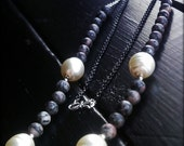 Bow - Hand Knotted, Silver Plated Chain, Oxidized, Glass Pearl, Granite, Silver Filled, Silk Cord, Necklace