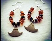 Balance - Baltic Amber, Cognac Amber, Brass Charm, Sterling Silver Earrings