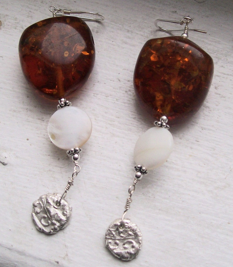 Roman Holiday  Baltic Amber Mother of Pearl and Art Clay image 0