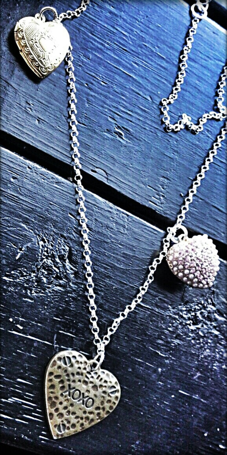 Paola Necklace  Heart Locket Crystal Gold Silver Plated image 0