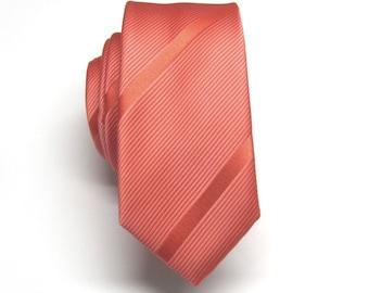 Coral Wool Tie.Coral Skinny Tie Coral Wedding Tie.Coral Neckties for Men.Groomsmen Gifts.