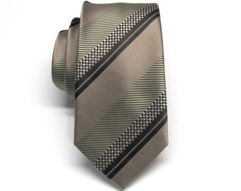 Mens Tie Brown Beige Olive Green Stripes Skinny Tie