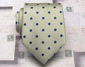d67d6a4212831 Mens Tie. Navy Blue on Yellow Polka Dot Mens Necktie with Matching Pocket  Square Option