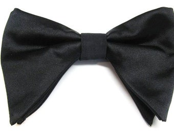 6a970c0b9fb3 Black Butterfly Bow Tie Tom Ford Inspired Black Tear Drop Long Pretied Bow  Tie With Matching Pocket Square Option