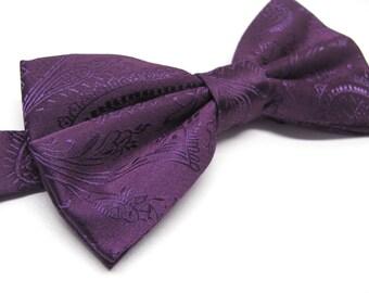 bbaf93c728 Eggplant Purple Paisley Bow tie With Matching Pocket Square Option