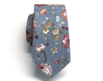 e3aa1e3ad7c5a Cotton Mens Tie. Dusty Blue Rose Pink Floral Skinny Tie With Matching Pocket  Square Option