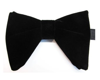 c65c736233bd Black Velvet Butterfly Bow Tie Tom Ford Inspired Black Tear Drop Long  Pretied Bow Tie With Matching Pocket Square Option