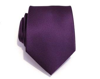 d62a1e2326 Mens Tie Eggplant Purple Silk Necktie With  FREE  Matching Pocket Square Set