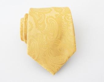 New Micro Fiber Men/'s Paisley Canary Yellow Self-Tie Neck tie /& hankie set microfiber 600I Formal Occasions