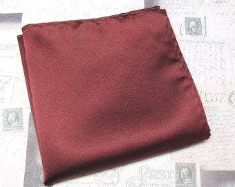 Red Pocket Square.Mens Pocket Square.Solid Red  Handkerchief.Wedding.Gifts.Red Linen Hanky.