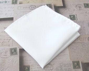 TIES R US Plain Ivory Satin Silk Pocket Square Handkerchief Hanky Wedding