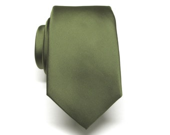 c2794ee65c156 Mens Ties Olive Drab Green Narrow Silk Necktie With Matching Pocket Square  Handkerchief Option