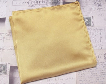 Pre-Folded Pocket square--Gold with darker Gold Band--Squares2go