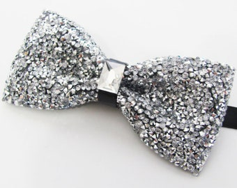 bow tie silver Rhinestones bow tie,white Crystal bow tie Silver bow tie Dream Up Idea Crystal bow tie White bow tie