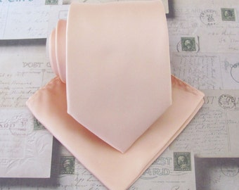 Pastel Peach Mens Tie With *FREE* Matching Pocket Square. Pastel Peach Pale Apricot Blush Necktie and Matching Pocket Square Set