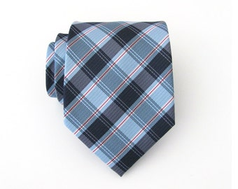 Mens Ties. Necktie Blue and Red Plaid Mens Tie