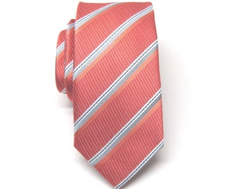 Mens Ties Coral Rose and Gray Stripes Skinny Necktie