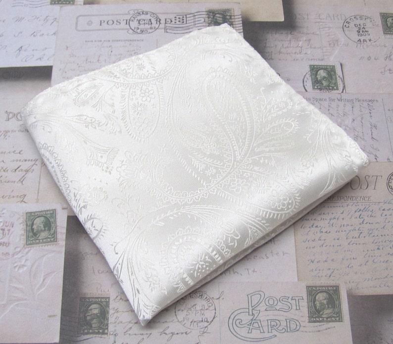 Pocket Square Ivory Paisley Hanky Handkerchief