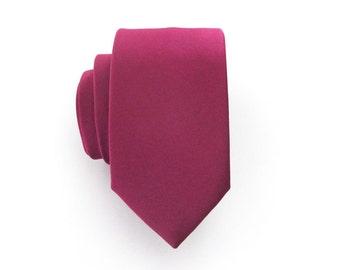 Mens Skinny Tie -  Spiced Wine Berry Bouquet Skinny Necktie