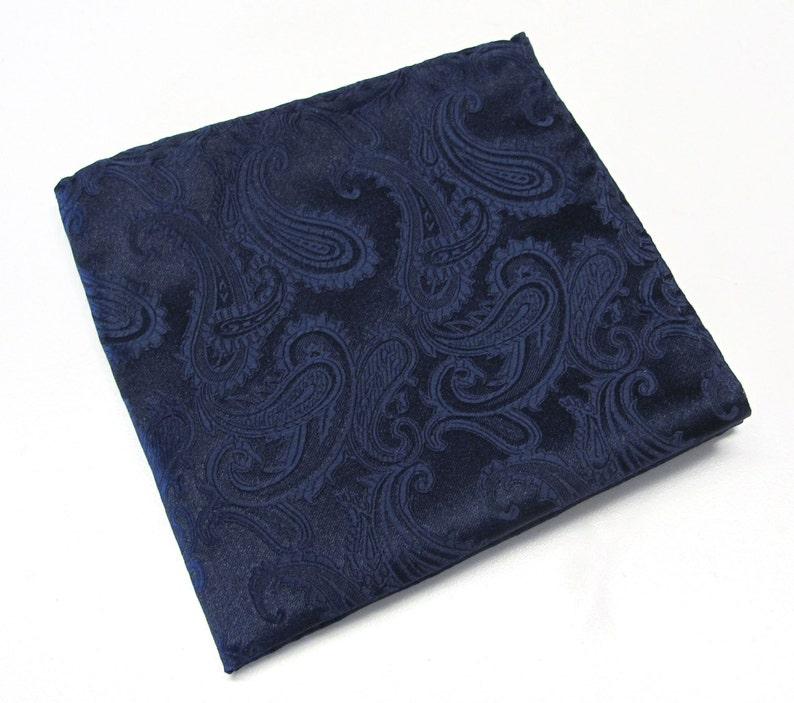 Pocket Square Navy Blue Paisley Hanky