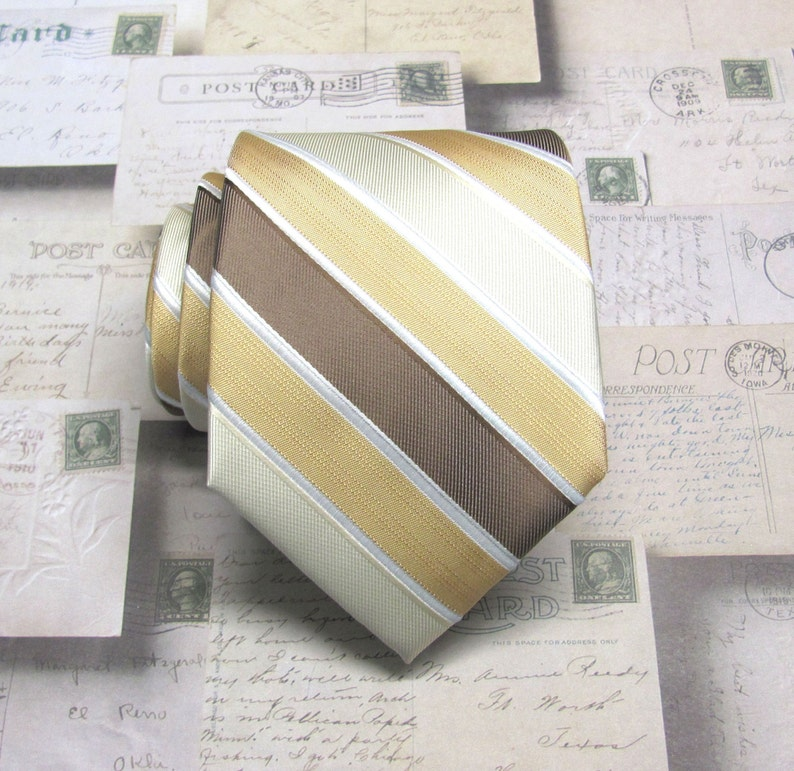 9131884813b6 Mens Ties Brown Gold Ivory Champagne Stripes Necktie With | Etsy
