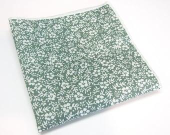 Pocket Square Cotton Green White Floral Hanky