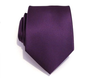 Mens Tie Eggplant Purple Silk Necktie With Matching Pocket Square Handkerchief