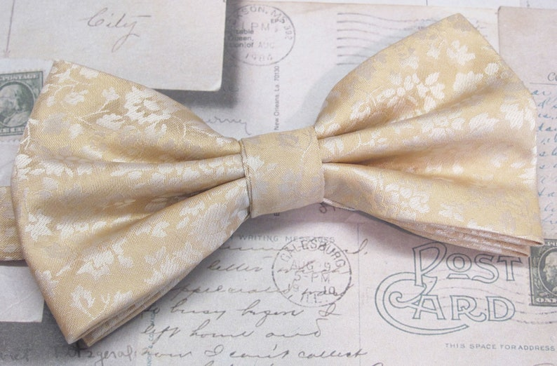 455b402f79df Mens Bowties. Champagne Tan Pale Gold Floral Bow tie With | Etsy