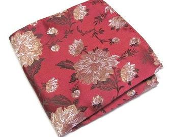 Pocket Square Red Gold Floral Hanky