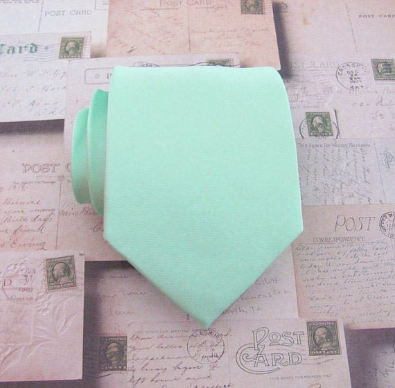 Mint Green Mens Tie With *FREE* Matching Pocket Square Pastel Mint Green Necktie. Wedding Ties With Matching Pocket Square Set