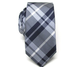 Mens Tie. Necktie Navy Blue Gray Plaid Mens Skinny Tie
