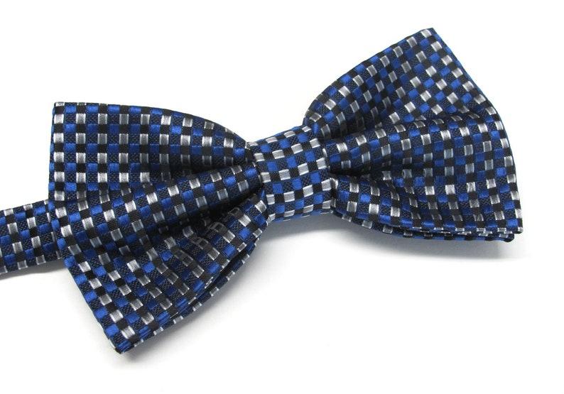 Mens Bow Tie Blue Gray Silver Neat Pattern Bowtie